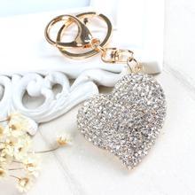 Joli pendentif porte-monnaie en forme de coeur de pêche, avec breloque en cristal, porte-clés de voiture, chaîne, bijoux, cadeau, pendentif en forme de coeur