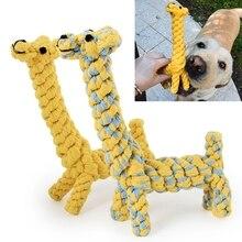 1x tissage girafe/le canard Portable chiot chien jouet pour animaux de compagnie coton tressé os corde à mâcher noué aimable