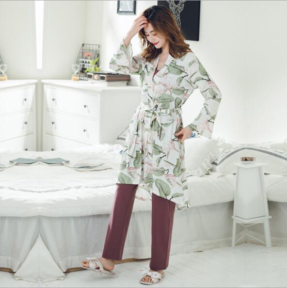 Spring Summer Cotton 3 Pieces Sleepwear Nursing Pyjama Pregnant Nightwear Maternity Nursing Pajamas For Pregnant Women Fdfklak enlarge