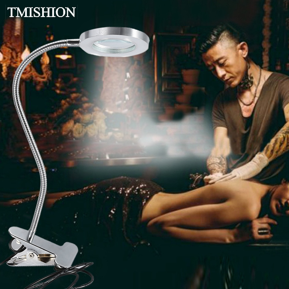 2,5 veces lupa luz portátil USB ceja labio tatuaje lámpara con Clip permanente maquillaje herramienta manicura lectura lámpara de aumento
