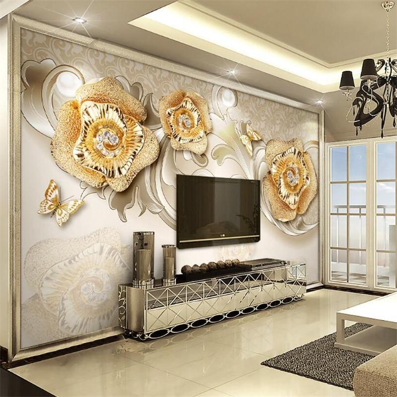 3d обои изысканная Европейская Золотая Роза Бабочка ТВ фон стена гостиная спальня