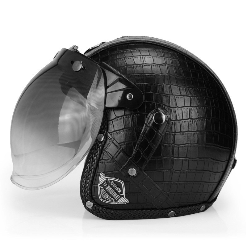 VOSS Motorcycle Helmet Motorcross Full Face Vintage Helmet For Scooter Leather Crash Helmet Windproof Open face Helmets