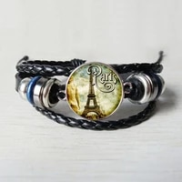 new crafts jewelry accessories french paris eiffel tower leather bracelet