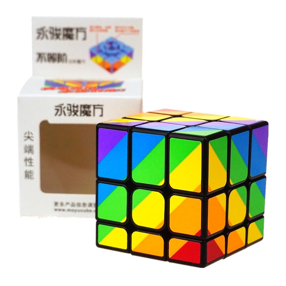 YongJun Arco Iris 3x3 cubo mágico inequilátero 3 capas 3x3x3 pegatinas negras cubo mágico inequilátero juguete rompecabezas para regalo de niños