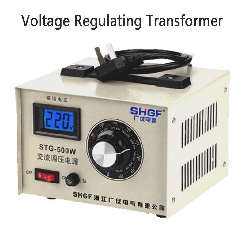 Regulador de voltaje monofásico 220v CA tipo de contacto regulado 0-300v transformador regulador de voltaje de fuente de alimentación 500W STG-500W