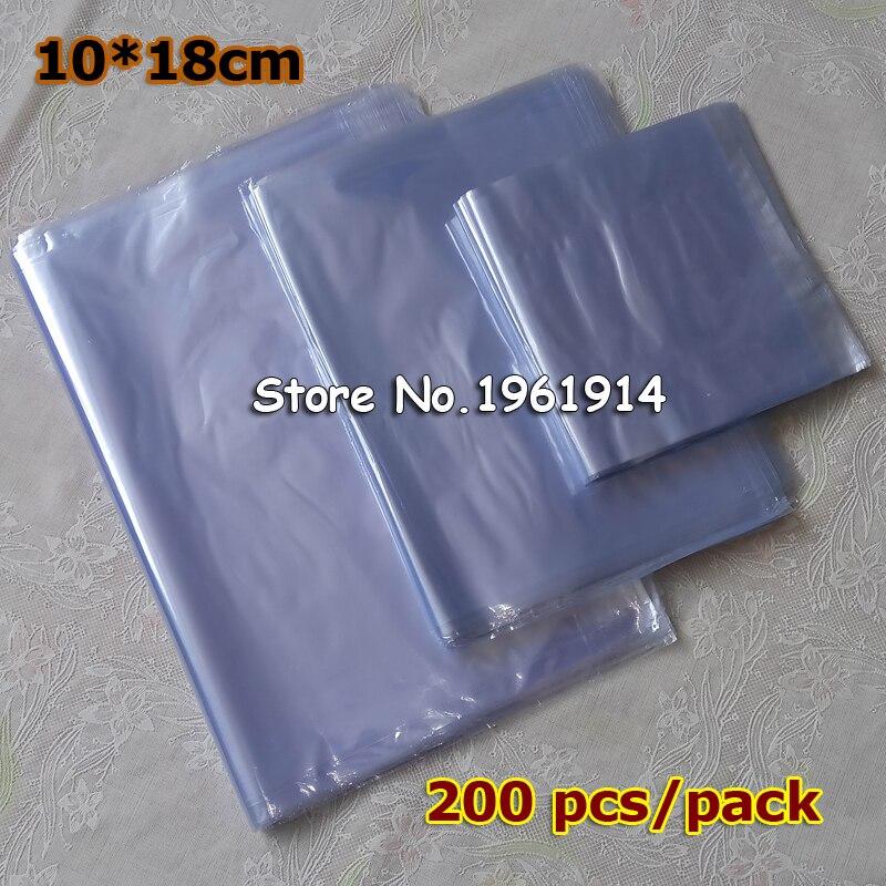 10x18cm 200 sacos do psiquiatra do calor do pvc dos pces/membrana clara sacos de empacotamento cosméticos plásticos/plástico shrinkable malote