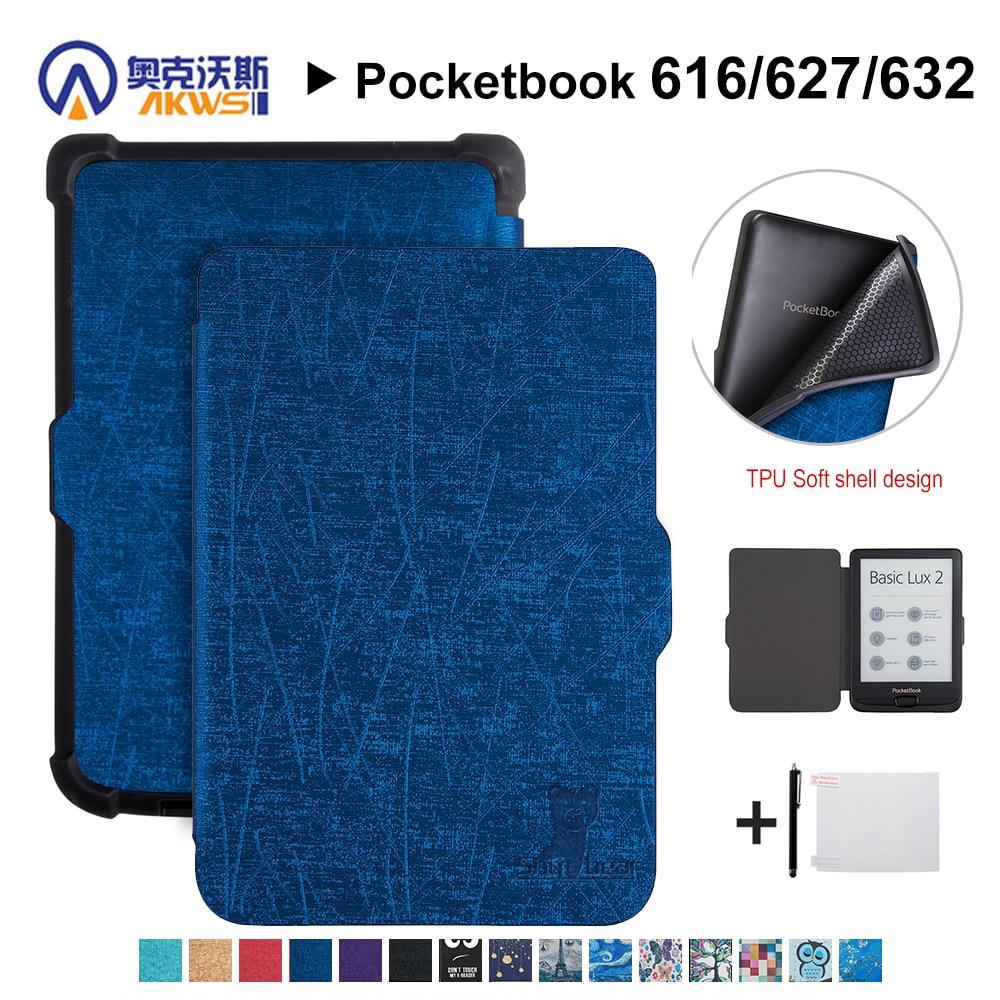 Funda de PU para Pocketbook 616/627/632 E-book, funda protectora para Pocketbook Basic Lux 2/touch Lux/touch HD 3 + regalo