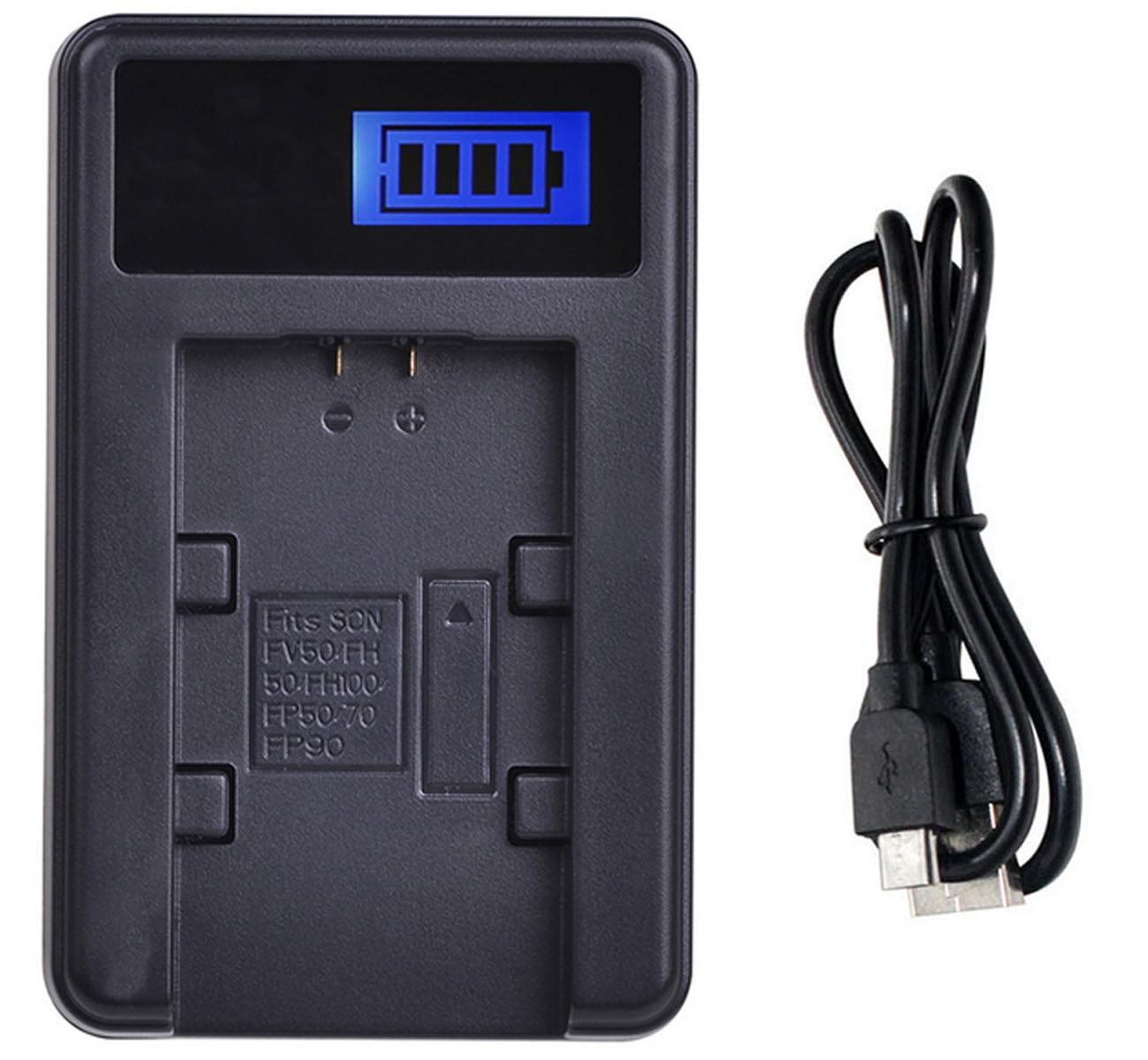 Cargador de batería USB LCD para videocámara Sony HDR-XR100E, HDR-XR105E, HDR-XR106E, HDR-XR150E,...