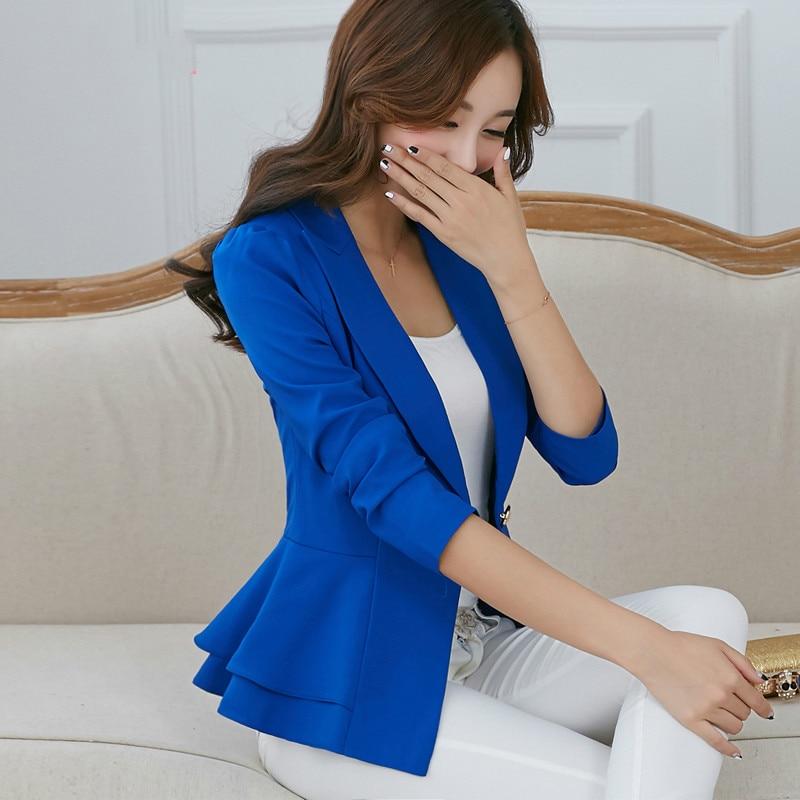 2020 Autumn Korean Version Women Black Blazer New Style Winter One Button Lotus Leaf Side Work Wear Female Fashion Short Suit