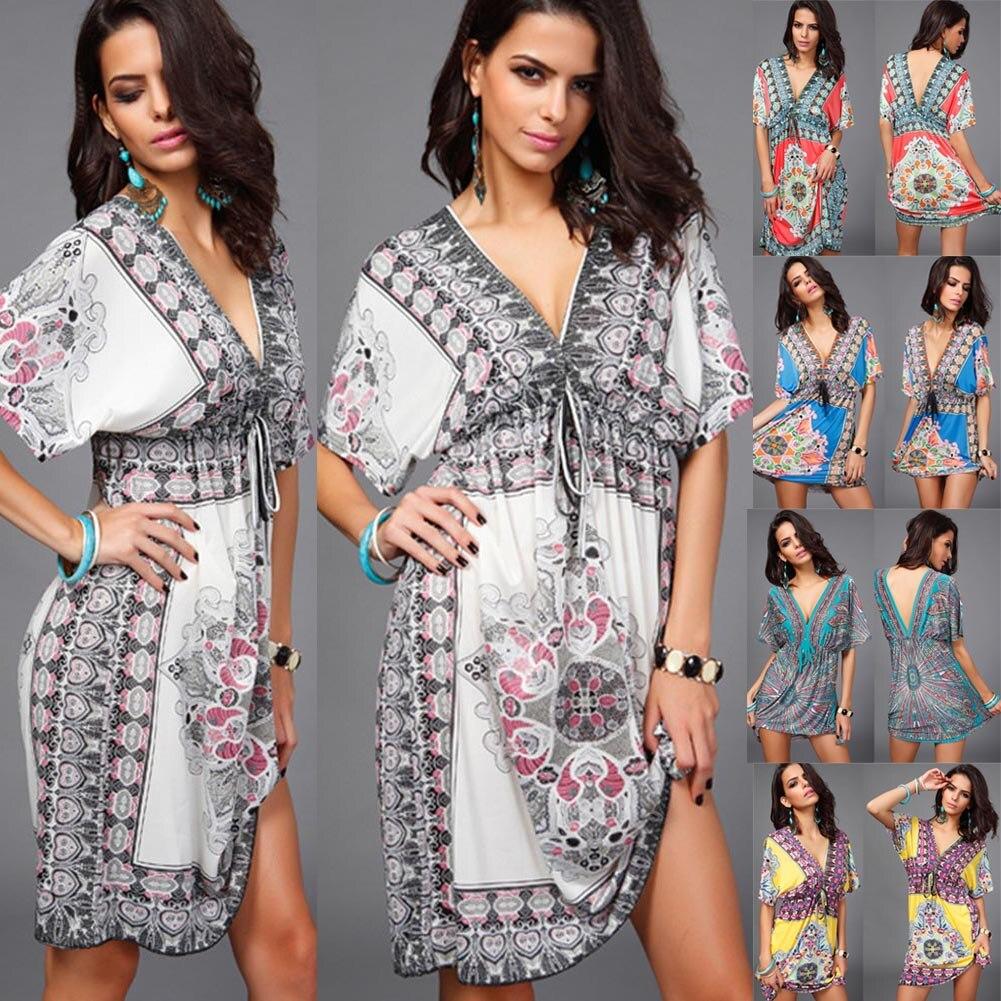 Frauen Sommer Lace Up Halbe Kaftan Gedruckt Tiefem V-ausschnitt Kleid 2019 Neue Damen Sexy Hippy Boho Kurze Mini Kaftan Tunika kleid