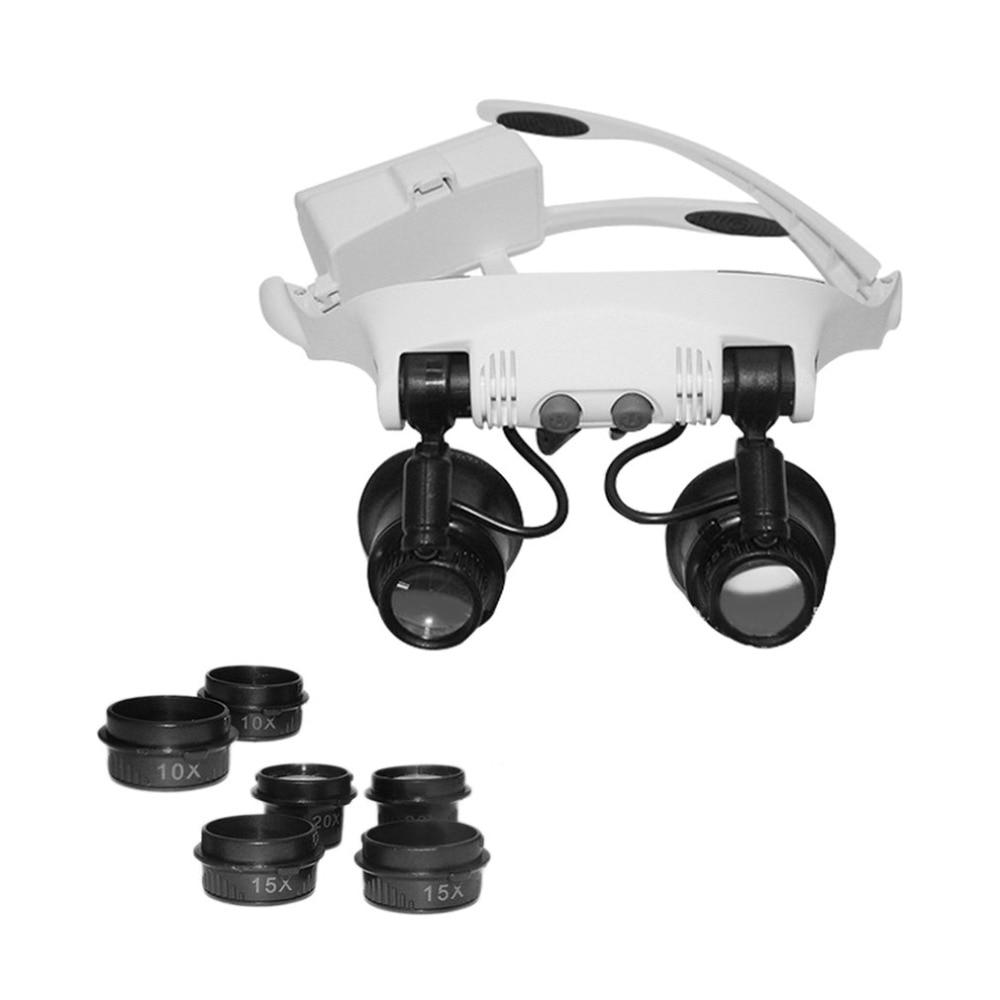 Cabeza de la cabeza con lupa + 2 lupa de ojo de luz LED lupa 10x 15x 20x 25X para la venta de la joyería del reloj Reparación de reloj