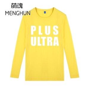 My hero academia ALL MIGHT Midoria Izuku PLUS ULTRA words printing long sleeve cotton high quality t shirts ac1197