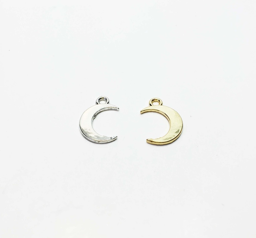 Eruifa Hot Wholesales Shiny 12mm Moon 20pcs / bag Zinc alloy DIY Charms Pendant  Jewelry handmade DIY 2 Colors