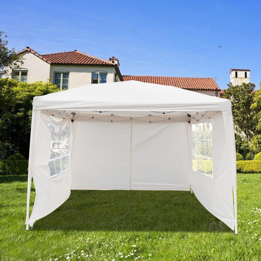 Lotto 3x3 m casa uso al aire libre Gazebo toldo Camping impermeable sombra tienda plegable con bolsa de transporte amarillo claro suministros de jardín