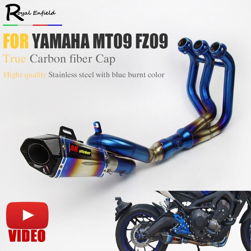 Mt09 fz09 silenciador do escape da motocicleta modificado scooter tubo dianteiro deslizamento-em silenciador akra escape para yamaha mt09 fz09 2014-2017