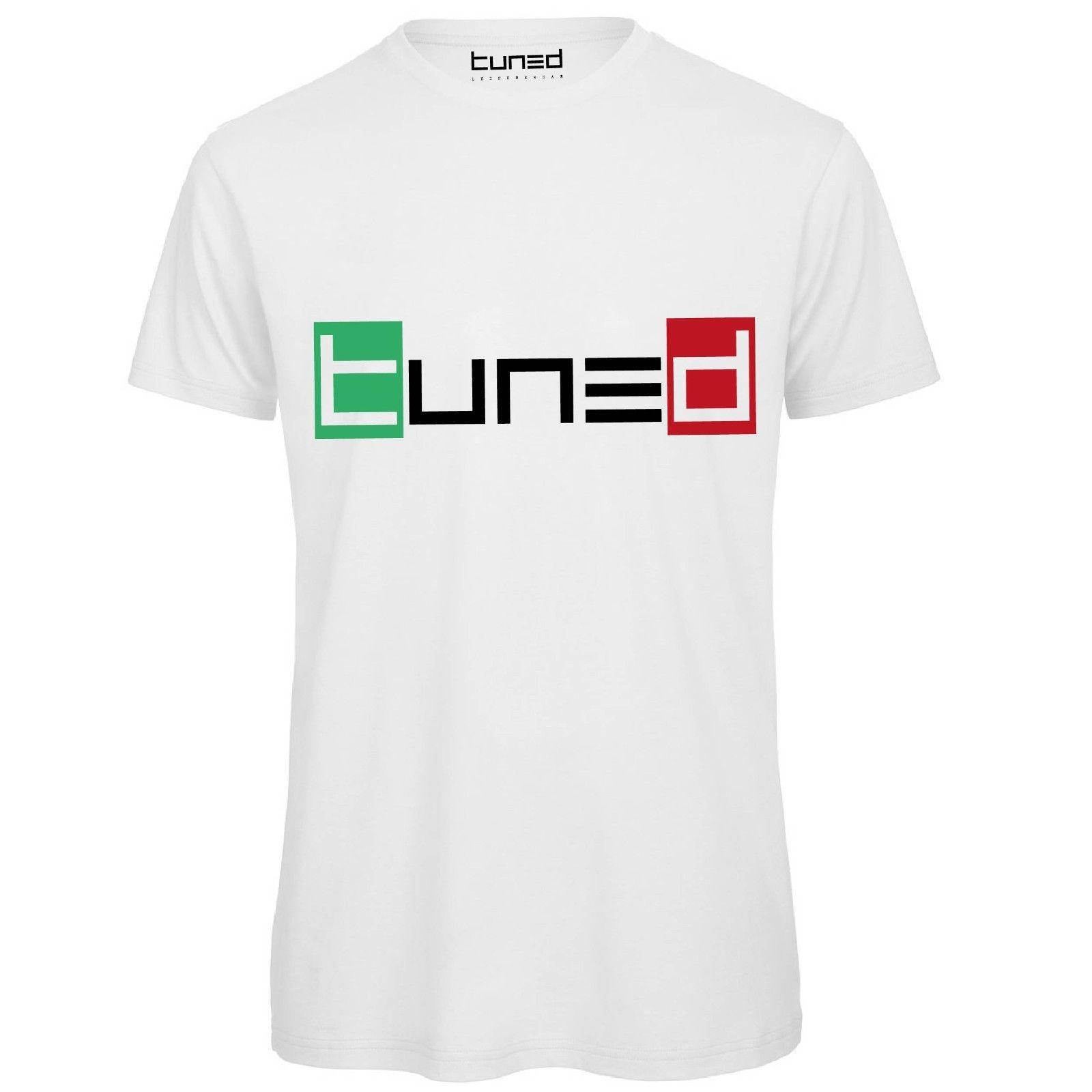 Maglietta Maniche Corte Uomo T-Shirt Cotone Organico Con Stampa Tricolore Tuned 2019T Shirts