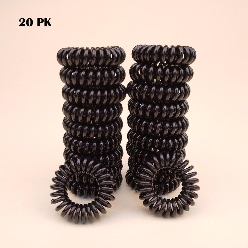 20-PK Todo negro al por mayor de buena calidad de pequeño tamaño espiral lazos de pelo Tony Tail Phone Cord corbatas mujeres y chicas Acces de Pelo elástico