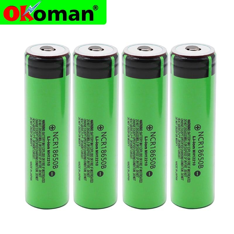 Batería recargable de litio 2019 Original 18650 3,7 v 3400 mah NCR18650B con punta (sin PCB) para batería de linterna