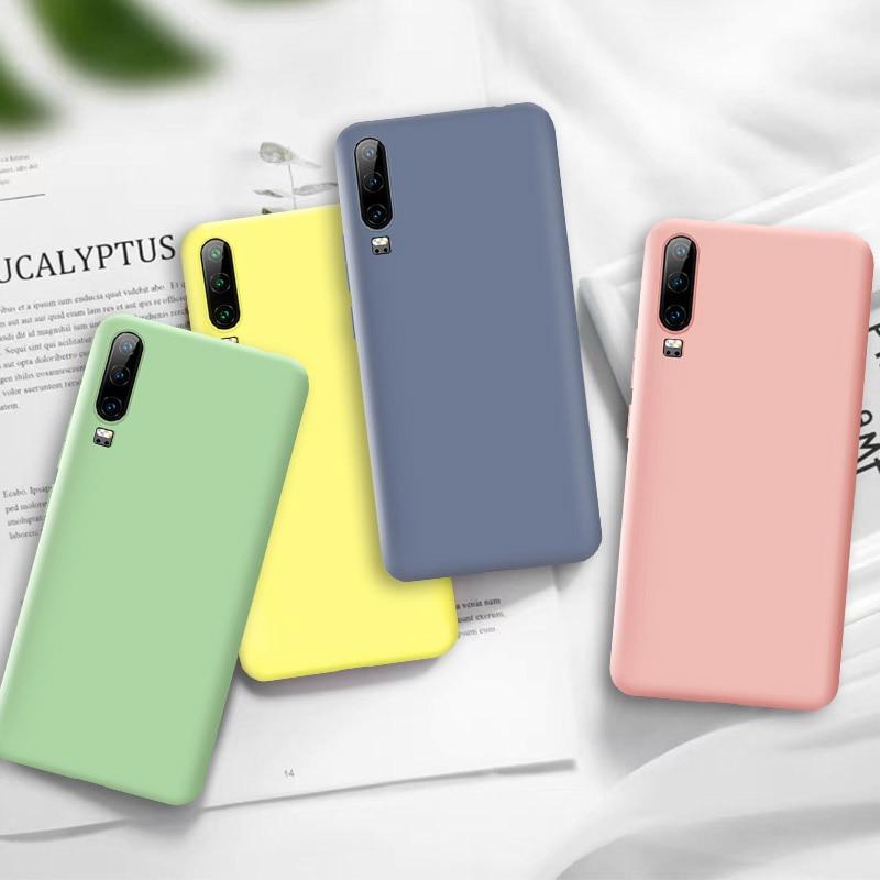 Candy Soft Liquid Silicone Case For Huawei P30 Mate 20Lite Pro Nova 4e For Honor 20 10 Lite P Smart 2019 Protective Back Case
