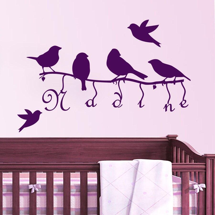 Calcomanía de pared personalizado nombre aves árbol rama niñas guardería dormitorio Decoración