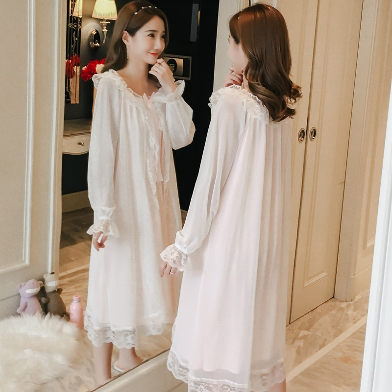 Retro court nightdress female spring and autumn cotton princess wind long sleeve pajamas sexy lace girl long skirt thin section enlarge