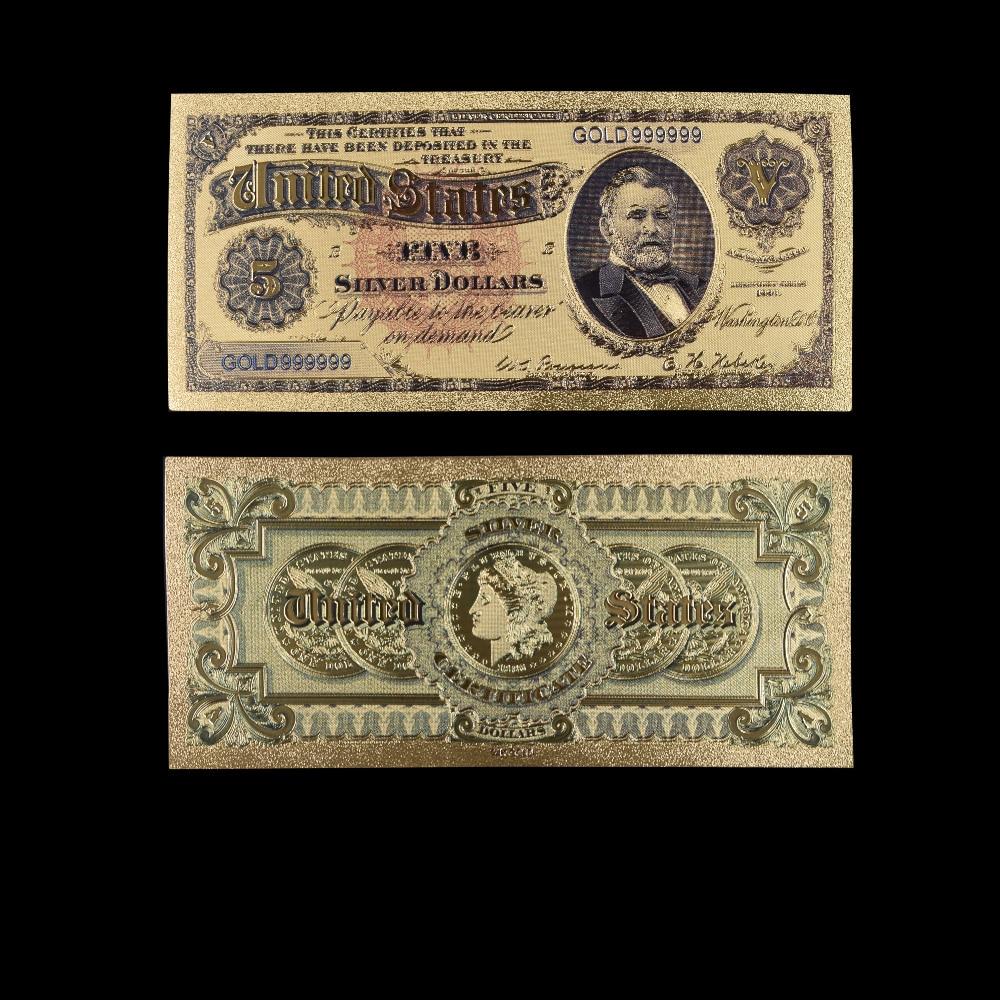 Банкноты США $5 долларов Золотая фольга банкнота ценная коллекция сувенир с бесплатной доставкой поддельные деньги