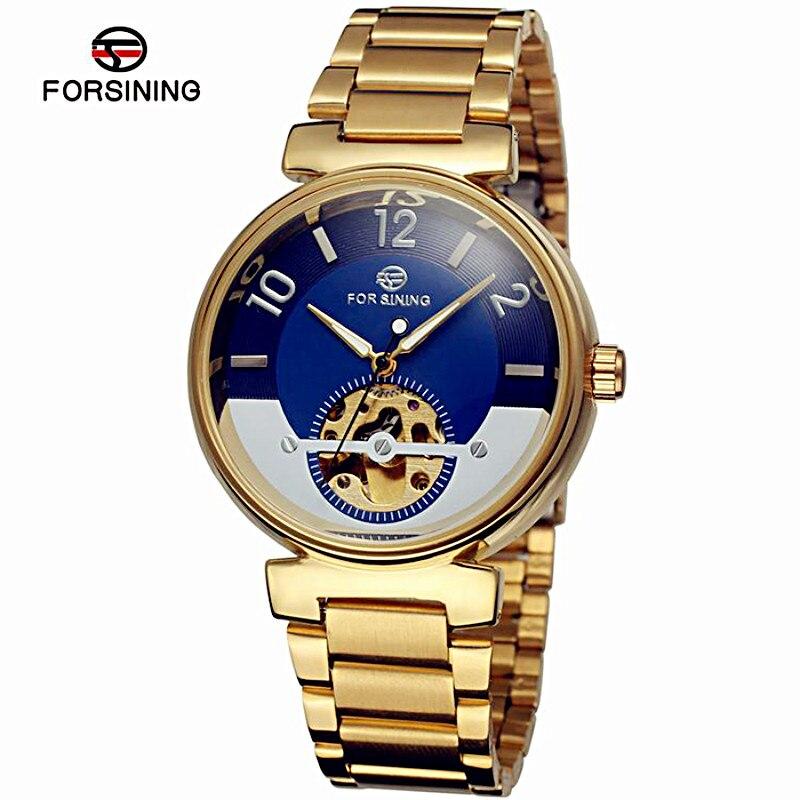 Reloj Mecánico Forsining Ocean con diseño de esfera, esqueleto dorado, acero inoxidable, relojes automáticos para hombre, relojes de lujo de la mejor marca
