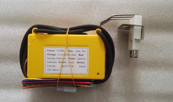 Caja de control de encendido de gas 12VDC con bujía, Unidad de encendido automático de gas de color amarillo para quemador y horno