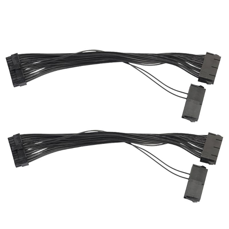 2pcs/lot 30cm 18AWG Power Synchronous Starter Wire Dual PSU Power Supply 24 pin ATX Motherboard Adapter Cable for BTC Miner