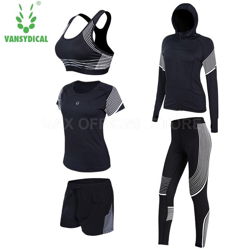 Vansydical Yoga Tracksuit For Women Yoga Legging 5pcs Women Sports Suit Yoga Legging Sport Bra Fitness Tights Femal Gym Clothing