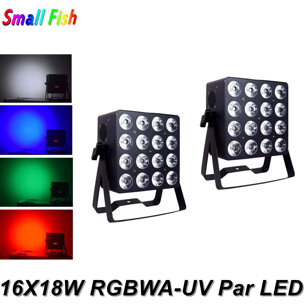 2Pcs/Lot Aluminum Alloy LED Flat Par 16X18W Lighting RGBWA-UV 6IN1 Dj Par Cans DMX 512 Controller LED Wash Light Dj Night Club
