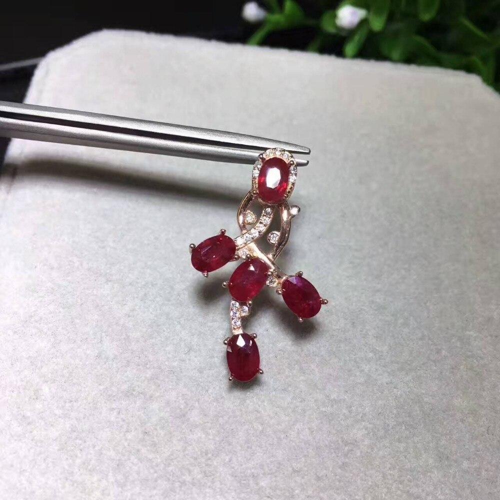 Colgante de GEMA de rubí rojo natural, colgante de Gema Natural de Plata de Ley 925, collar con Cruz de flores irregulares, joyería para mujer y Niña
