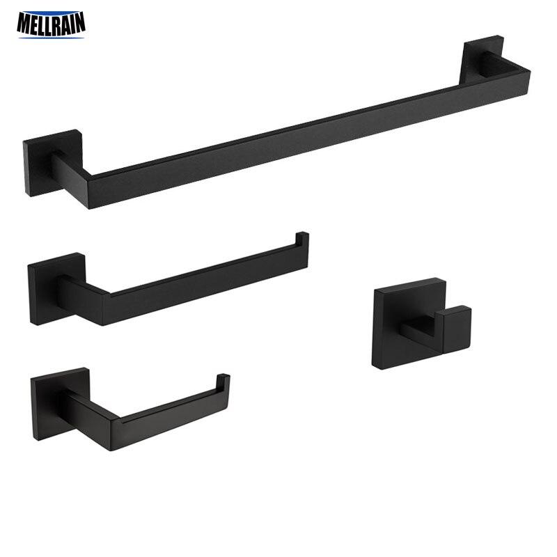 Matt Schwarz Bad Bad Hardware Sets Wc Papier Halter & Handtuch Bar & Handtuch Ring & Tuch Robe Haken Handtuch rack Set Kit.