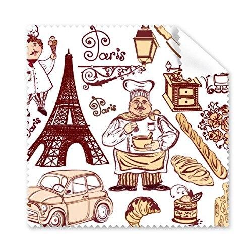 Alimentos Fogão França Landmark Arquitetura Da Paisagem Personalizado Padrão de Óculos Pano de Limpeza Pano de Limpeza Da Tela Do Telefone 5 pcs