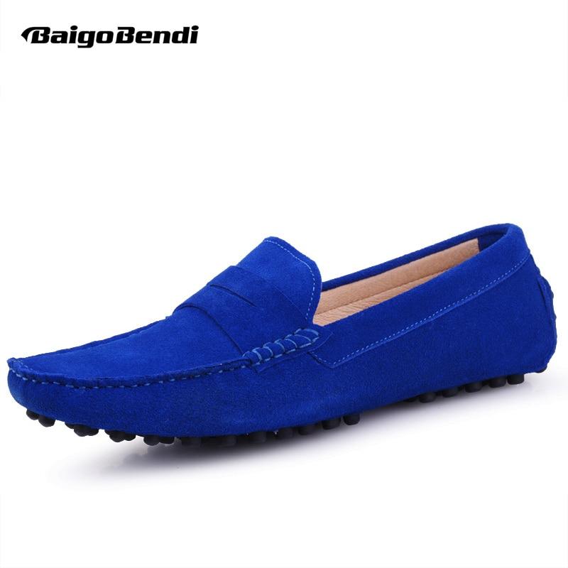 US6-12 Genuine Leather Comfort SLIP-ON Penny Loafers Men Car Shoes Moccasins Fashion Boat Mens