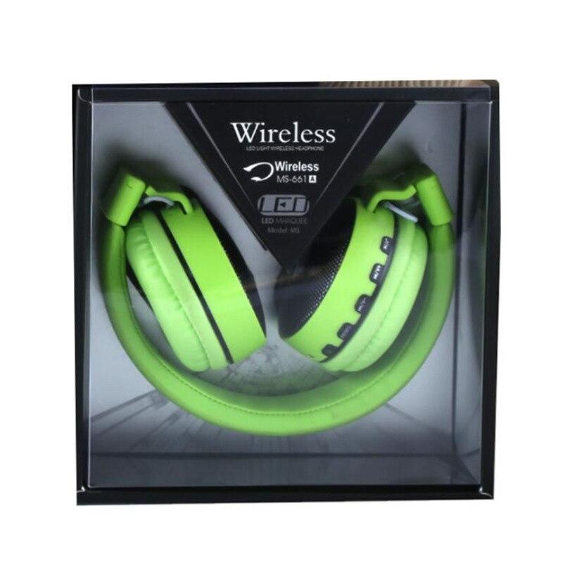 MS661 LED سماعات لاسلكية سماعة رأس بخاصية البلوتوث V4.2 سماعات أذن سماعات الأذن مع الميكروفون للكمبيوتر هاتف ذكي مشغل موسيقى