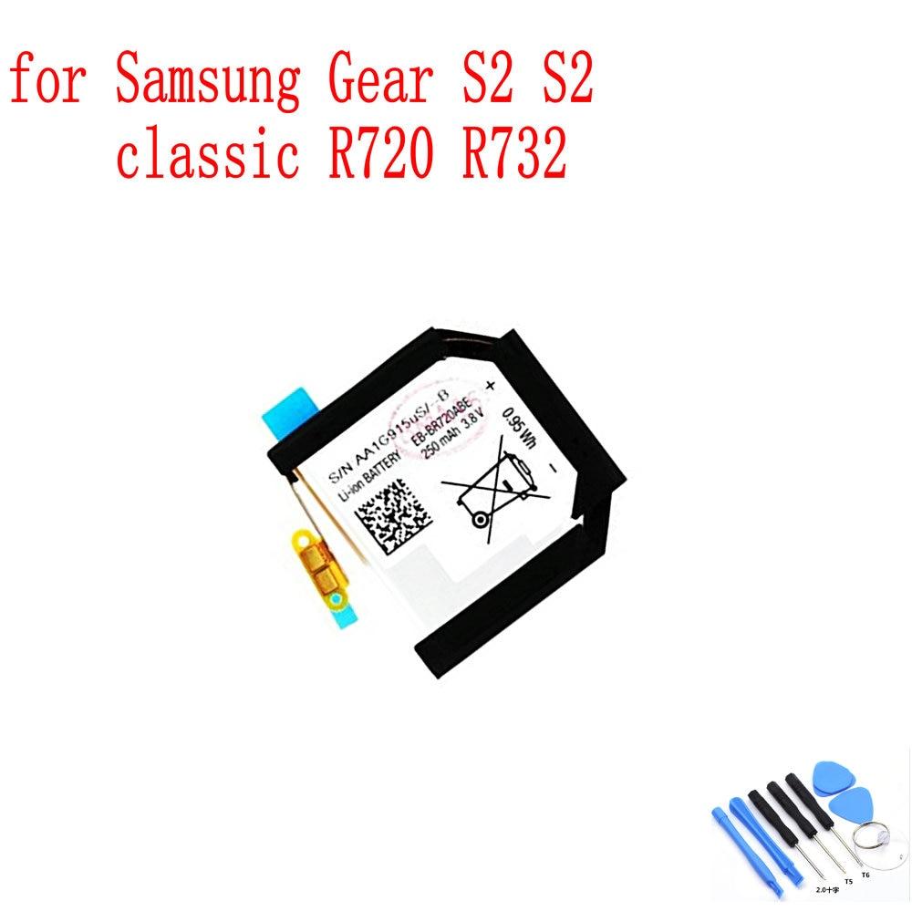 100% original novo 250 mah r720 EB-BR720ABE bateria para samsung gear s2 r720 r732 clássico relógio inteligente bateria