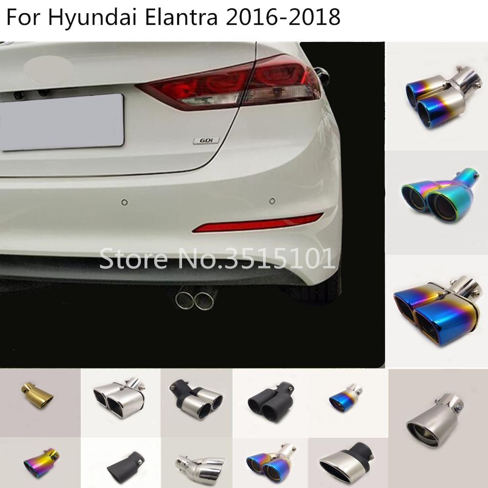 Coche cuerpo estilo de la cubierta de acero inoxidable silenciador salida tubo dedicar Punta de escape cola 1pcs para 2016 de Hyundai Elantra 2017 a 2018