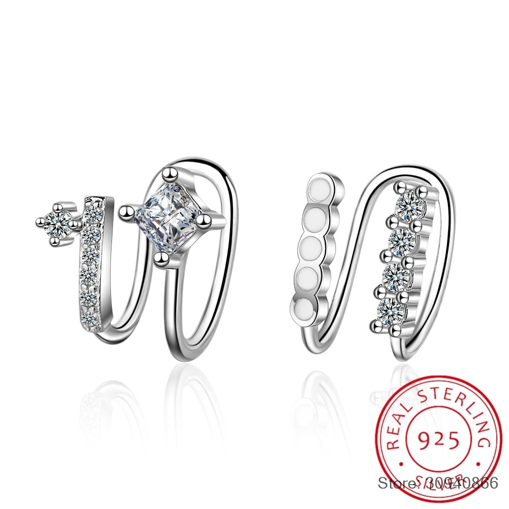 micro pave cz clip ear cuff earring for girl women gift 925 silver no piercing fashion cheap jewelry high qaulity
