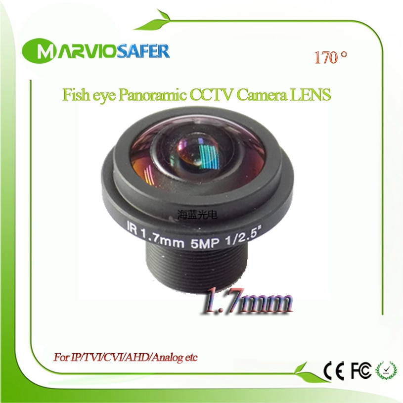 Marviosafer HD Fisheye cctv lens 5MP 1.7MM M12*0.5 Mount 1/2.5 F2.0 180 degree for security CCTV IP Network/AHD/TVI/CVI cameras