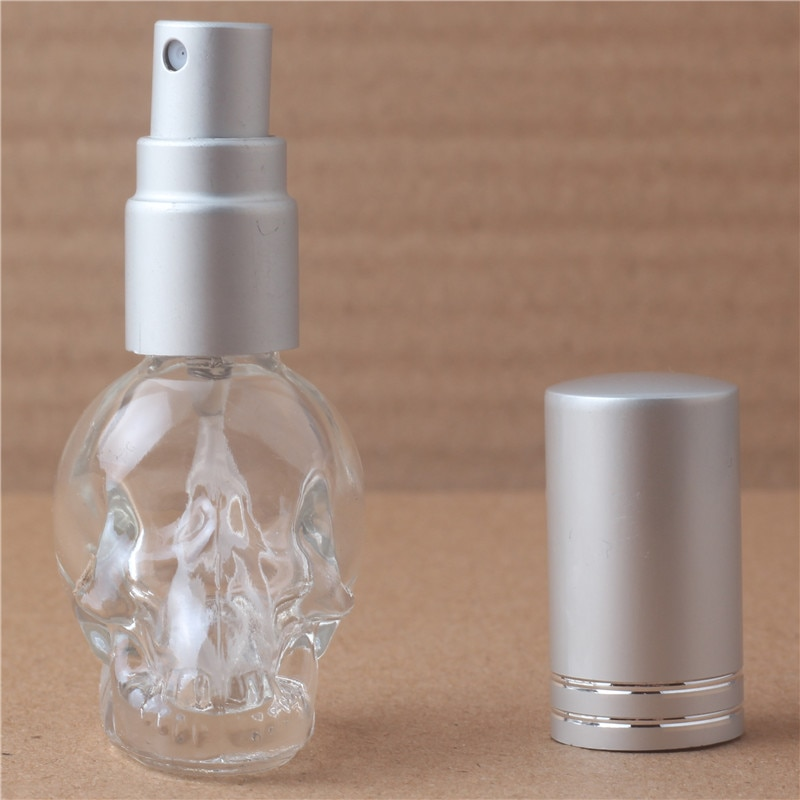 Флаконы для духов, 1 шт., 8 мл, 3d-дизайн в виде черепа, для путешествий, многоразовый мини-распылитель духов, портативная стеклянная бутылка с 10 цветами