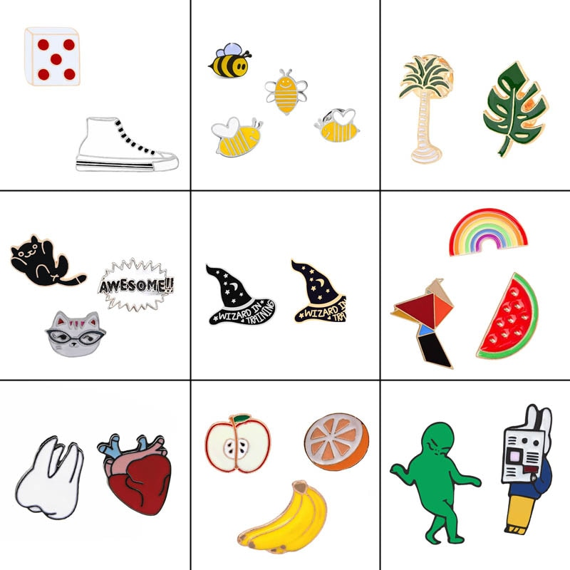 2-4 pc/set kawaii esmalte pinos broches & pinos dentes abelhas arco-íris maçã gato metal lapela crachá chapéu jóias festa feminina atacado
