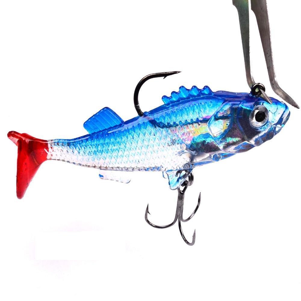 1PC miękkiego silikonu przynęta wędkarska w kształcie robaka 76mm/15.7g Bass Carp Lead Jig Isca sztuczne 3D oczy Shad przynęta na ryby narzędzie Pesca dla jeziora