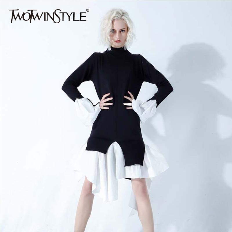 TWOTWINSTYLE Ruffles Patchwork suéter para mujeres Stand Collar de manga larga Irregular largo de punto Pullover Tops mujer 2020