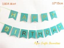 Un ensemble de guirlandes à suspendre   Décorations menthe de joyeux anniversaire, guirlandes de fête danniversaire, fête danniversaire, réception-cadeau pour bébé, 12*15cm, un ensemble