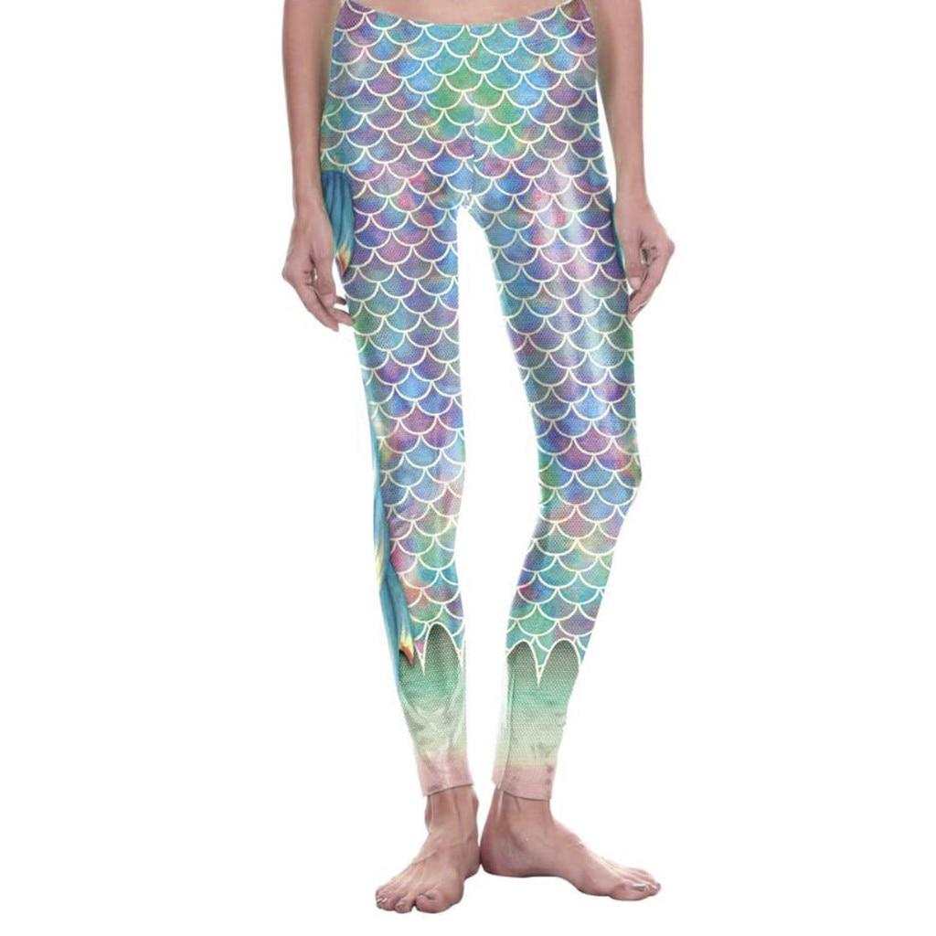 Leggings con estampado de escamas de pescado, pantalones de Yoga de cintura alta para mujer, pantalones metálicos brillantes para gimnasio, ropa de entrenamiento, pantalones de discoteca con cintura elástica