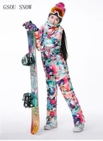 gsou snow brand ski suits womens ski jacketski pants camouflage sets winter outdoor waterproof windproof keep warm snow jacket