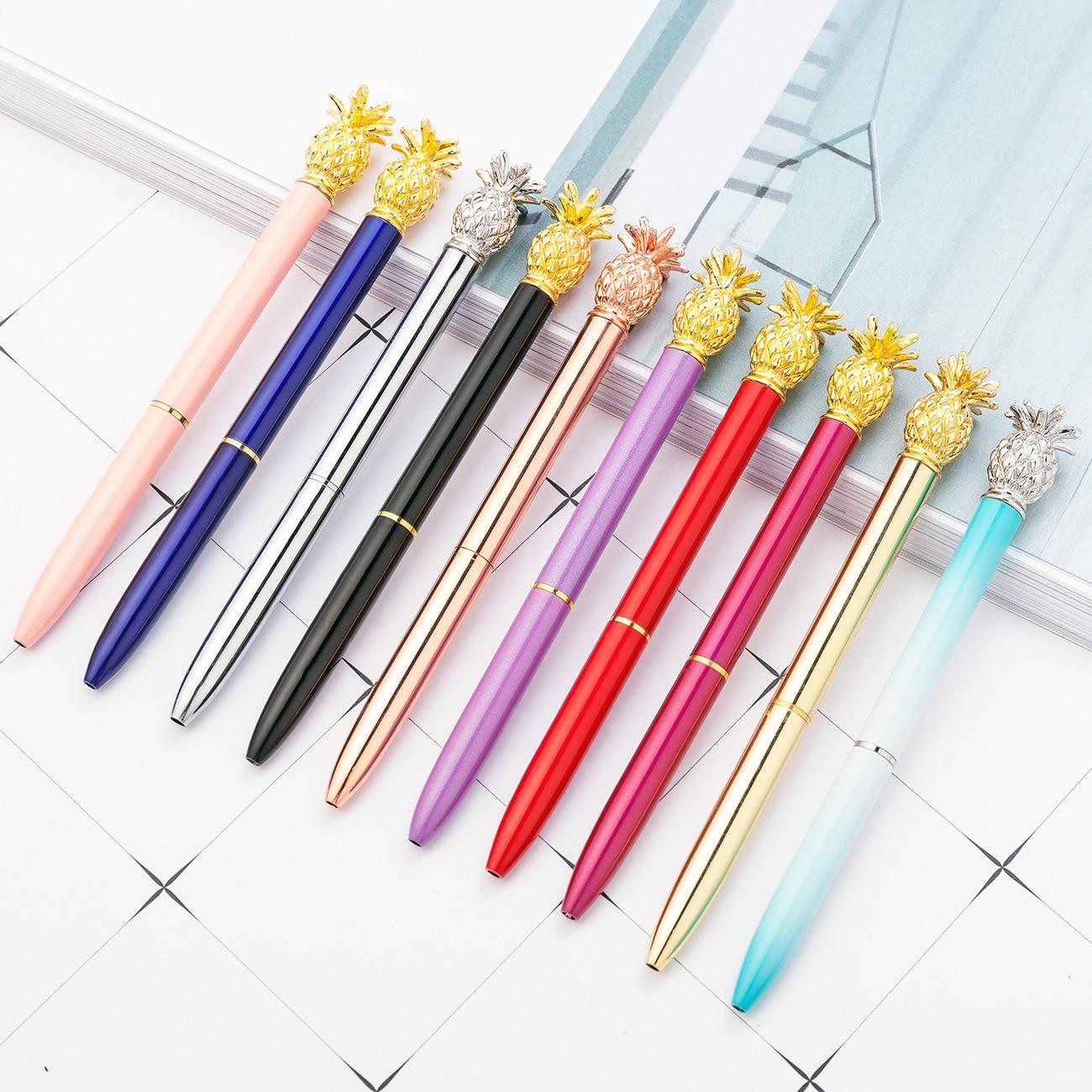 20 unids/set Kawaii bolígrafos con bola de cristal bolígrafo moda chica grande de Metal piña bolígrafo bolígrafos para la escuela papelería