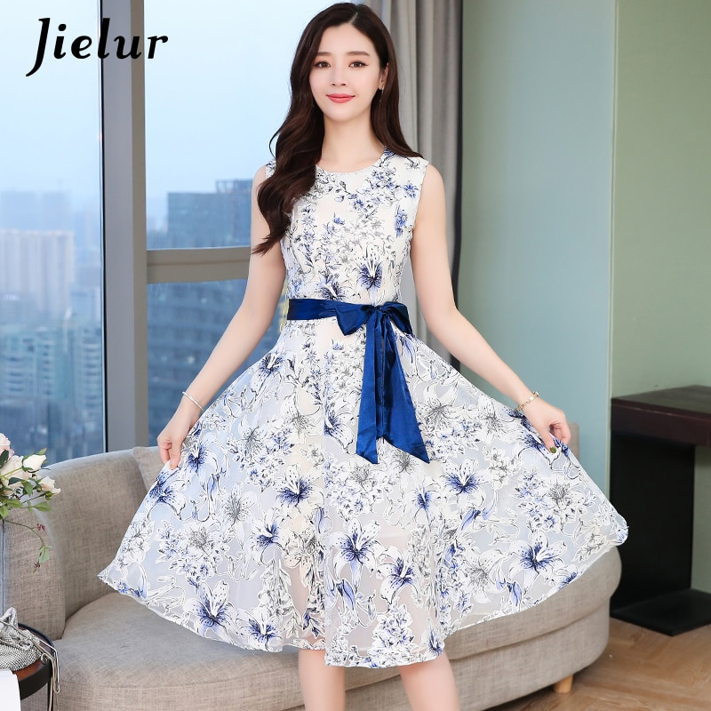 Vestido Jielur estampado Floral sin mangas de malla de encaje elegante vestidos de señora cuello redondo Hipster verano vestido Kleider Damen S-XL