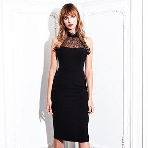 Женское кружевное вечернее платье, черное облегающее платье без рукавов с круглым вырезом, лето 2019
